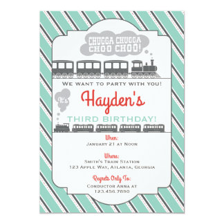 Train Birthday Party Invitation, Vintage Card
