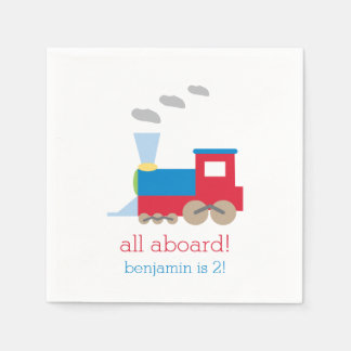 Train Birthday Party Personalized Napkin Disposable Napkins
