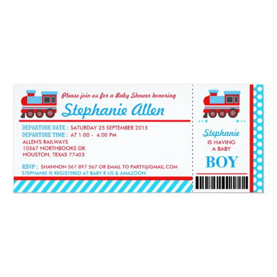 Train Boarding Pass Baby Shower Party Invitation
