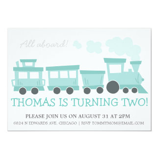 Train Cars Birthday Party Invite