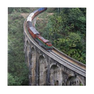 Train crossing bridge Sri Lanka highlands Tile