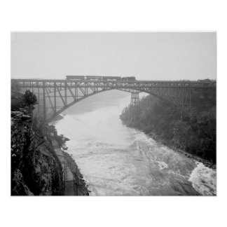 Train Crossing Niagara River, 1910. Vintage Photo Poster