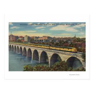 Train- Crossing Stone Arch Bridge Postcard