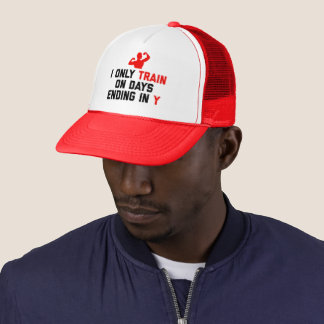 Train Days Ending Y Gym Quote Trucker Hat