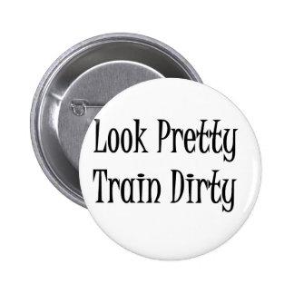 Train dirty-black 2 inch round button