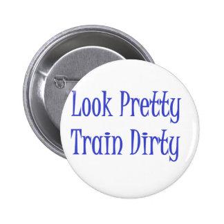 Train dirty blue 2 inch round button