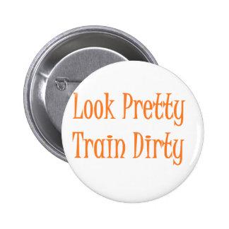 Train dirty- orange 2 inch round button