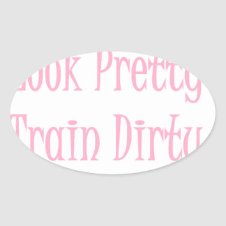 Train dirty- pink oval sticker