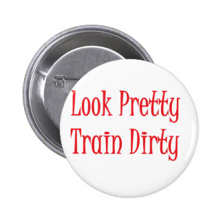 Train dirty- red 2 inch round button