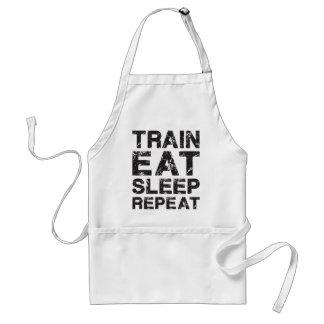 Train, Eat, Sleep, Repeat Adult Apron