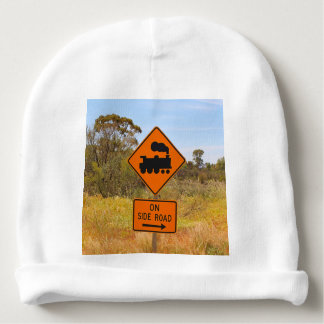 Train engine locomotive sign, Australia Baby Beanie