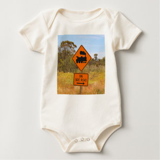 Train engine locomotive sign, Australia Baby Bodysuit