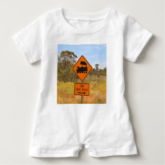 Train engine locomotive sign, Australia Baby Romper