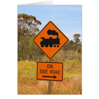 Train engine locomotive sign, Australia Card