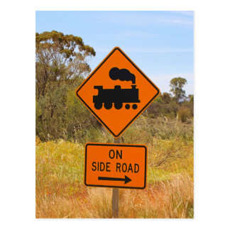 Train engine locomotive sign, Australia Postcard