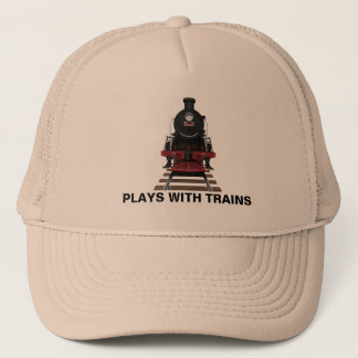 Train Engine Plays With Trains or Customize Text Trucker Hat