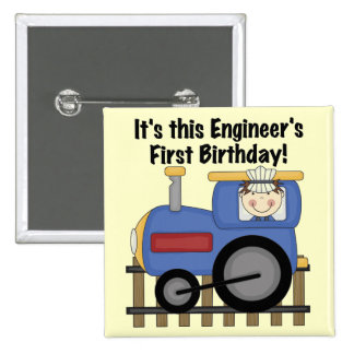Train Engineer 1st Birthday Tshirts and gifts 2 Inch Square Button