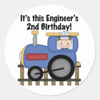 Train Engineer 2nd Birthday Tshirts and Gifts Classic Round Sticker