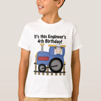 Train Engineer 4th Birthday Tshirts and Gifts
