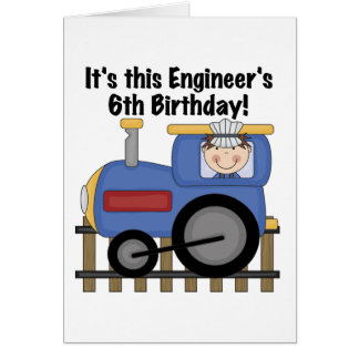 Train Engineer 6th Birthday Tshirts and Gifts Card