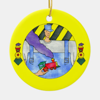 Train Engineer Ceramic Ornament