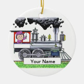 Train Engineer - Female Ceramic Ornament