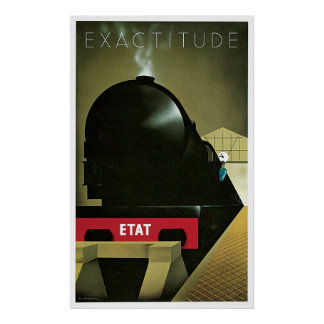 Train Exactitude ETAT Railroad Vintage Poster