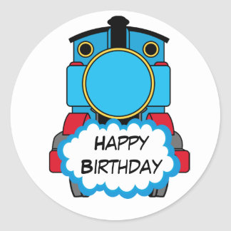 Train Happy Birthday round Sticker