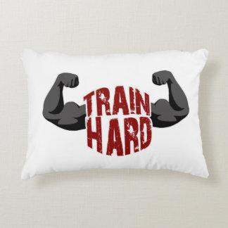 Train hard accent pillow