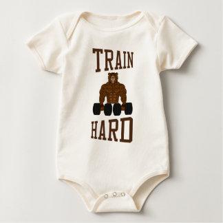 Train Hard bodybuilding Gym fitness Dumbbells Baby Bodysuit