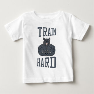 Train Hard bodybuilding Gym fitness Dumbbells Baby T-Shirt
