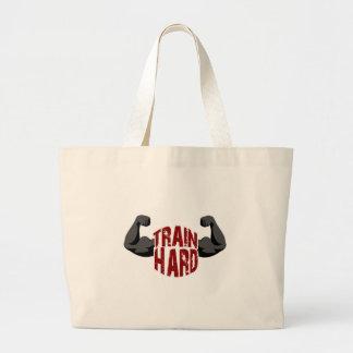 Train hard large tote bag