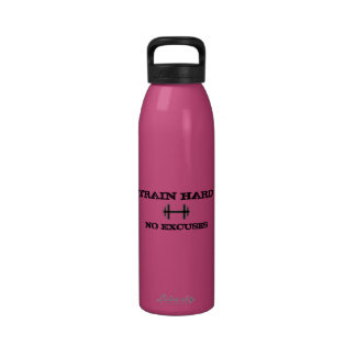 Train Hard No Excuses Water Bottle