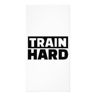 Train hard photo card