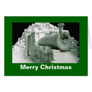Train Ice Sculpture, Christmas Card