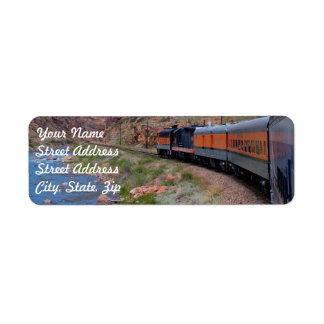 Train in Canyon Background Return Address Sticker