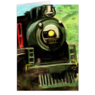Train Locomotive Chalk Pastel Art Drawing Card