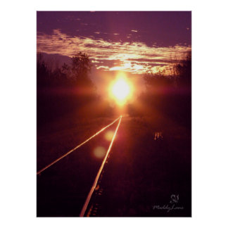 Train of thoughts Sunset by Miyspirit Poster
