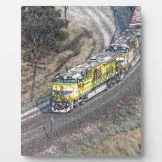 Train on the Tehachapi Loop Plaque