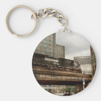 Train - Pittsburg Pa - The industrial city Basic Round Button Keychain