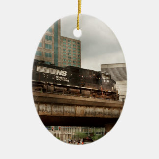 Train - Pittsburg Pa - The industrial city Ceramic Oval Ornament