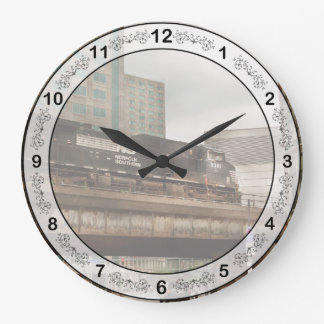 Train - Pittsburg Pa - The industrial city Large Clock