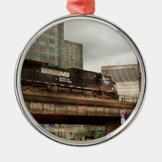 Train - Pittsburg Pa - The industrial city Silver-Colored Round Ornament