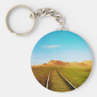 Train railway nature scenery keychain