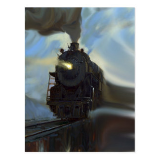 Train reflété carte postale