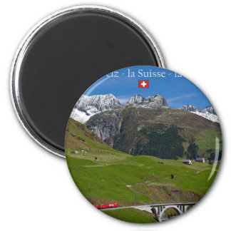 Train Ride through the Swiss Alps Magnet