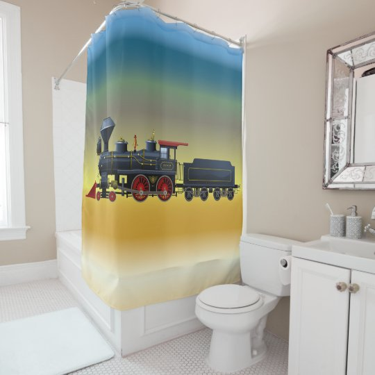 Train Set on Coloured Chrome Shower Curtain