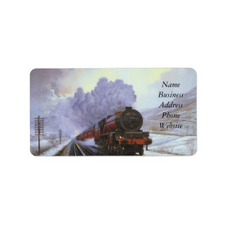 Train Snow Winter Painting  Smoke Label