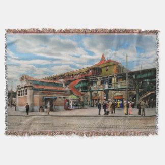 Train Station - Atlantic Ave Control House 1910 Throw Blanket
