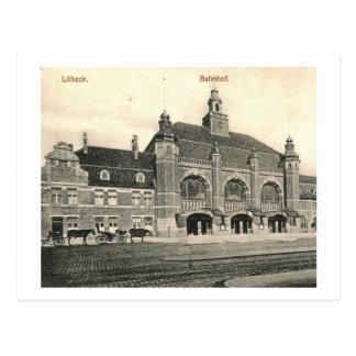Train Station Bahnhof, Lubeck, Germany Vintage Postcard